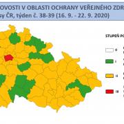 V celé ČR stoupají záchyty pozitivně diagnostikovaných pacientů scovid-19, dooranžového stupně nyní spadá již 58 okresů