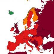 Řecko, Lotyšsko aAndorra budou nově zařazené včervené kategorii zemí. Malta bude tmavě červená