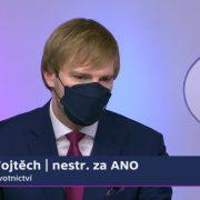 Ministr Adam Vojtěch byl hostem nedělních Otázek Václava Moravce naČT24